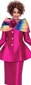 DCC - DCC2443 Skirt Suit With Removable Rainbow Colored Portriat Style Collar On Peplum Jacket