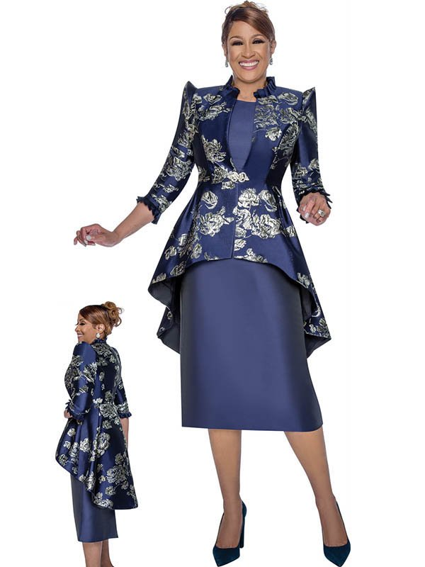 DCC - DCC2622 Solid Dress Suit With Ruffle Trimmed Floral Print High Low Jacket