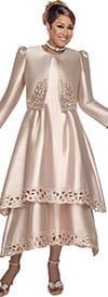 DCC - DCC2802 Taupe Two Tier Dress & Bolero Jacket With Cutout Trim Detailing