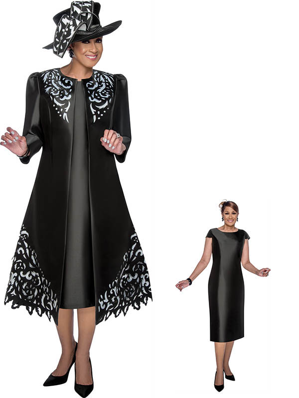 DCC - DCC2842 - Cap Sleeve Sheath Dress and Duster Style Jacket featuring See Through Cut-Out Detailing