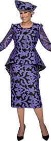 DCC - DCC2912 - Purple Illusion Sleeve High Low Peplum Jacket Skirt Ensemble