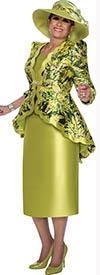 DCC - DCC3052 - Green Print Scalloped Trim Peplum Skirt Suit