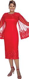 DCC - DCC3061 - Red - Illusion Lace Angel Sleeve Dress