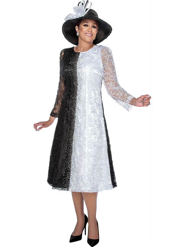 DCC - DCC3081 - Black and White Mesh Layered Dress With Soutache Detail