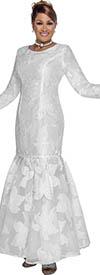 DCC - DCC3091 - Full Length White Floral Texture Drop Waist Flounce Hem Dress