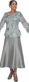 DCC - DCC3152 - Silver Layered Mesh Puff Cuff Top with Solid Color Skirt