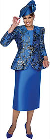 DCC - DCC3172 - Royal Abstract Print Skirt Suit with Bead Clasp