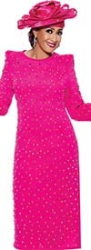 DCC - DCC3921-Fuchsia - Womens Stud Embellished Dress With Pointy Shoulders