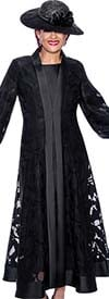 DCC - DCC3942-Black - Two Piece Womens Duster Dress With Bishop Sleeves