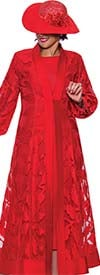 DCC - DCC3942-Red - Womens Duster Dress With Bishop Sleeves
