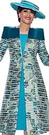 DCC - DCC3952 - Womens Striped Floral Duster Dress With Over Shoulder Collar