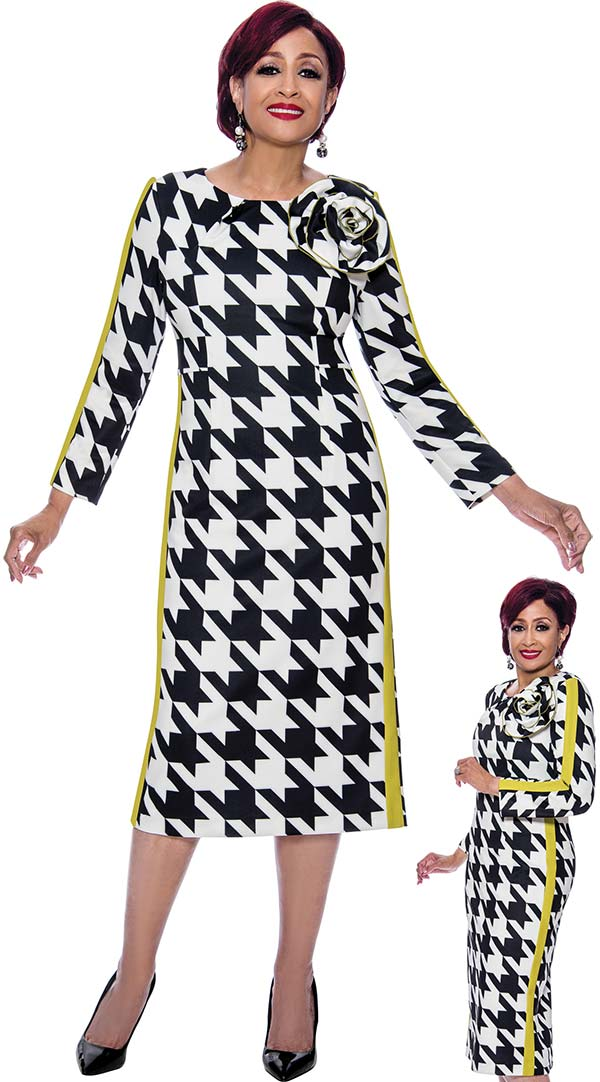DCC - DCC3981 - Womens Houndstooth Print Long Sleeve Dress