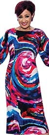 DCC - DCC3991 - Womens Multi-Color Print Dress With Button Cuff Sleeves