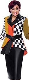 DCC - DCC4022 - Womens Multi-Pattern Print Jacket With Studded Faux Leather Accent And Skirt