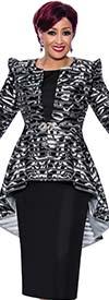 DCC - DCC4042 - Womens Pointy Shoulder High-Low Striped Jacket & Dress Set
