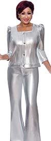 DCC - DCC4152 - Ladies Metallic Denim Design Flared Pants And Upper Puff Sleeve Jacket Set