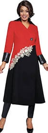 DCC - DCC101CT - Black / White / Red - Womens Cuffed Long Coat