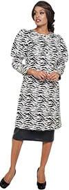 DCC - DCC3712 - Black/White - Womens Print Balloon Upper Sleeve Dress