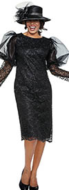 DCC - DCC3722 - Black - Lace Puff Bell Sleeve Dress