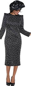 DCC - DCC3921-Black - Womens Stud Embellished Dress With Pointy Shoulders