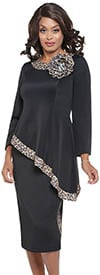 DCC - DCC4002 - Black - Womens Animal Print Trim Skirt And Tilted High-Low Hem Jacket Set