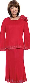 DCC - DCC1012-Red - Flare Sleeve Knit Skirt Suit With Embellished Trims