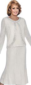DCC - DCC1263-White - Knit Flare Skirt Womens Suit With Embellished Trim Jacket