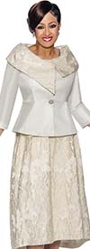 DCC - DCC1412-Ivory - Floral Accented Skirt Suit With Asymmetric Portrait Collar