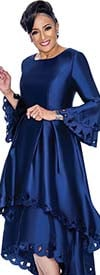 DCC - DCC1431-Navy - Layered Flounce Bell Sleeve Pleated Dress With Cut-Out Design