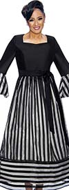 DCC - DCC1741 Striped Dress With Sash & Bell Sleeves
