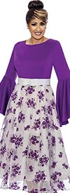 DCC - DCC1831-Purple - Floral Design Pleated Dress With Bell Sleeves