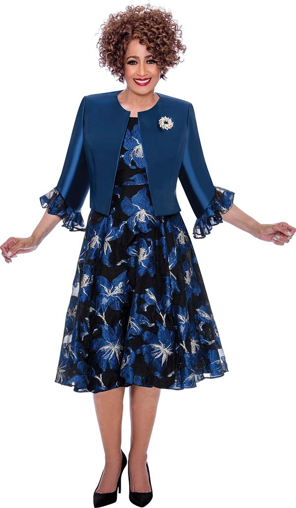 DCC - DCC1962-Navy - Ladies Flared Dress Set With Ruffle Cuff Sleeve Jacket