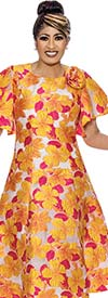 DCC - DCC2031 Floral Pattern Princess-Line Dress With Ruffle Sleeves