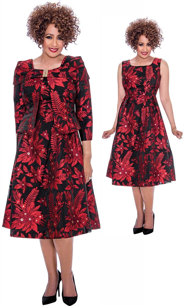 DCC - DCC2142 Bell Dress With Floral Pattern And Portrait Style Collar Jacket