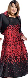 DCC - DCC692-Burgundy - Fit & Flare Metallic Jacquard Dress With Portrait Collar