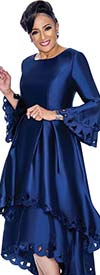 DCC - DCC1431-Navy Layered Flounce Bell Sleeve Pleated Dress With Cut-Out Design