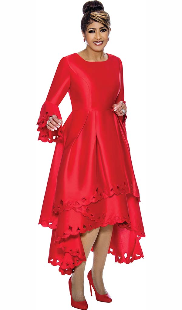 DCC - DCC1431-Red Layered Flounce Bell Sleeve Pleated Dress With Cut-Out Design