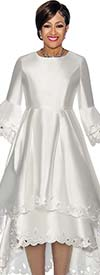 DCC - DCC1431-White Layered Flounce Bell Sleeve Pleated Dress With Cut-Out Design