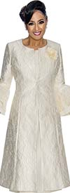DCC - DCC1772-Ivory Bell Sleeve Jacket Dress With Floral Design