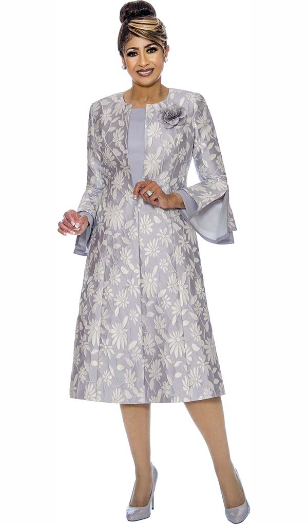 DCC - DCC1772-Silver Bell Sleeve Jacket Dress With Floral Design