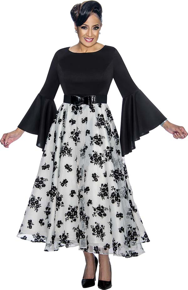 DCC - DCC1831-Black Floral Design Pleated Dress With Bell Sleeves