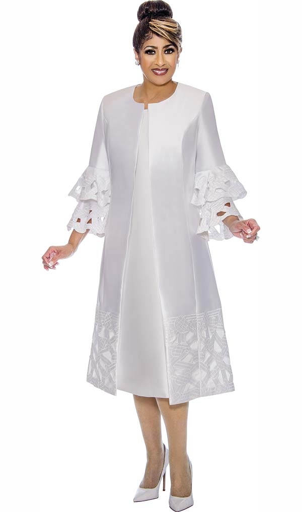 DCC - DCC1932-White Cut-Out Design Dress Set With Long Double Bell Sleeved Jacket