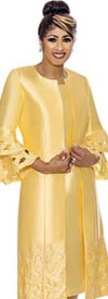 DCC - DCC1932-Yellow Cut-Out Design Dress Set With Long Double Bell Sleeved Jacket