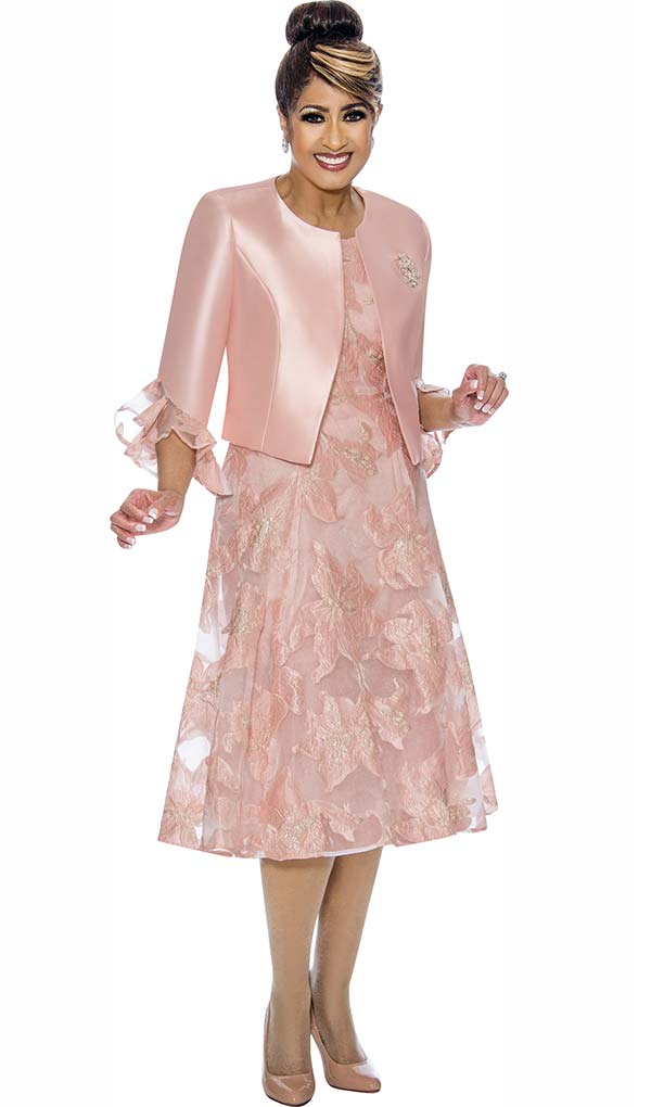 DCC - DCC1962 Ladies Flared Dress Set With Ruffle Cuff Sleeve Jacket