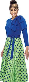DCC - DCC1971 Pleated Polka Dot Dress With One Sholder Accent Solid Bodice & Sash