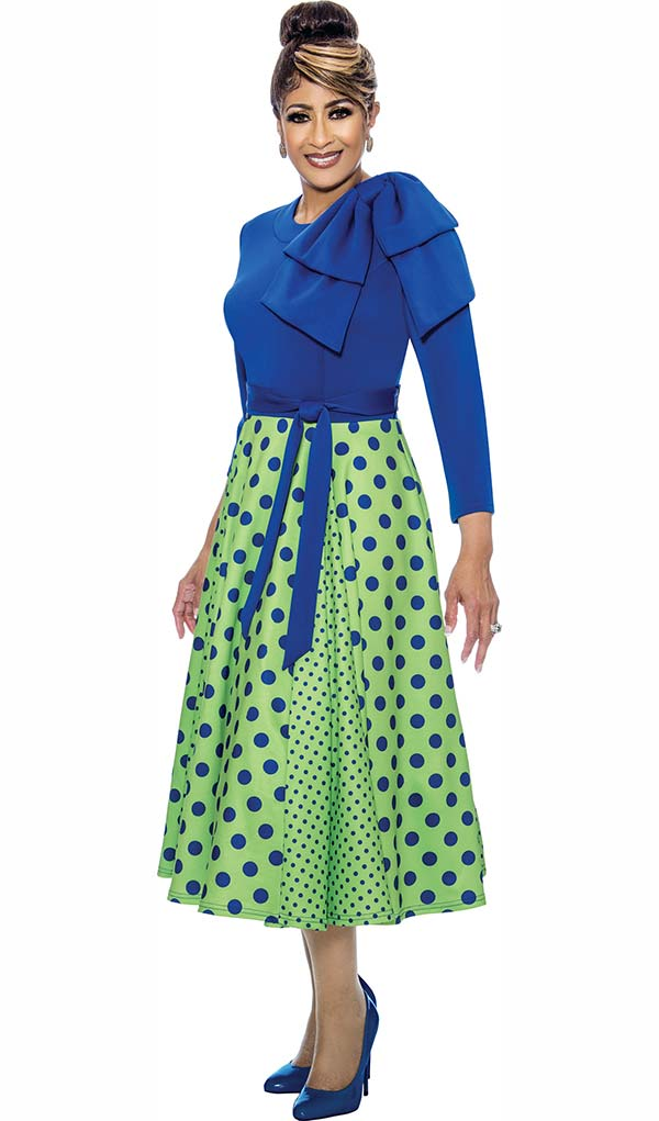 DCC - DCC1971 Pleated Polka Dot Dress With One Shoulder Accent Solid Bodice & Sash