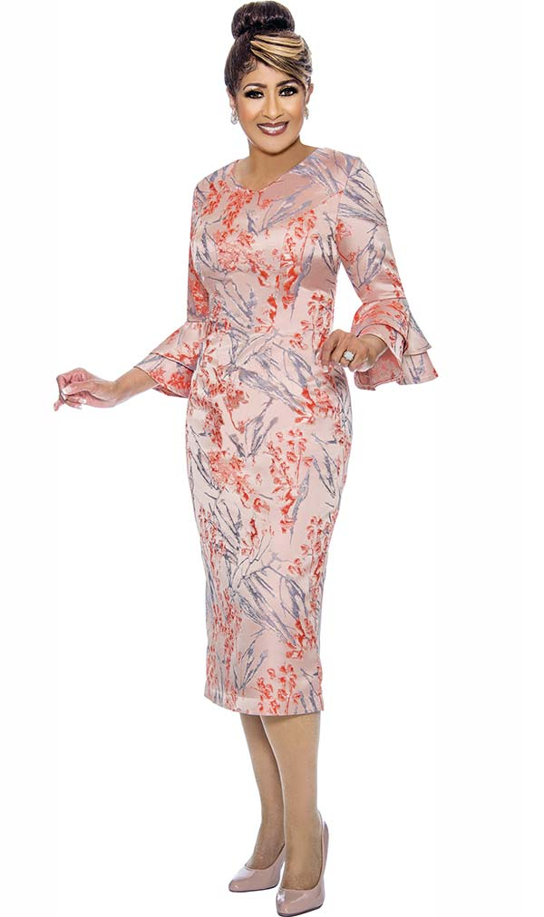 DCC - DCC1981 Floral Print Dress With Layered Flounce Sleeves
