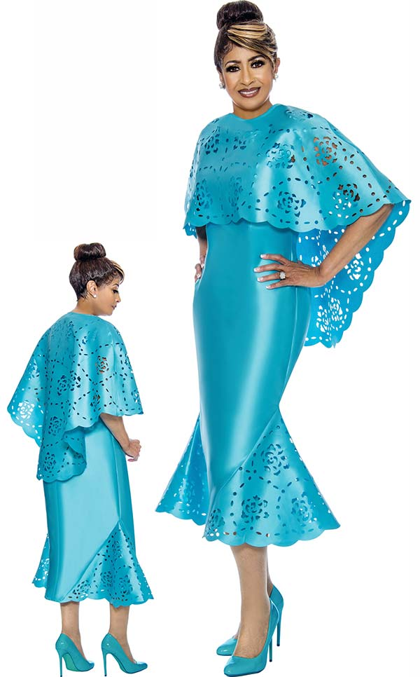 DCC - DCC1992 Cut-Out Accented Dress With Cape