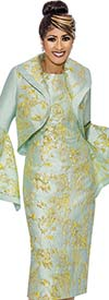 DCC - DCC2002 Gold Brocade Style Accented Dress With Flounce Sleeve Bolero Jacket