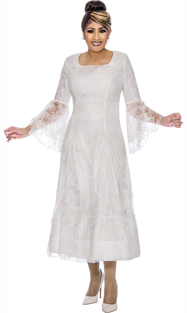 DCC - DCC2011-White Bell Sleeve Pleated Dress With Lace Organza Layer